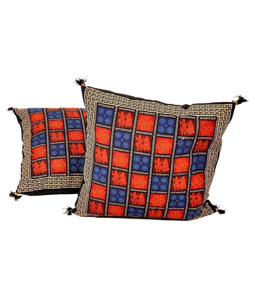Indiangiftemporium Multicolour Cotton Printed Cushion Cover