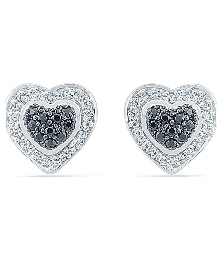 Radiant Bay Pressure Set 18kt White Gold Studs Earrings