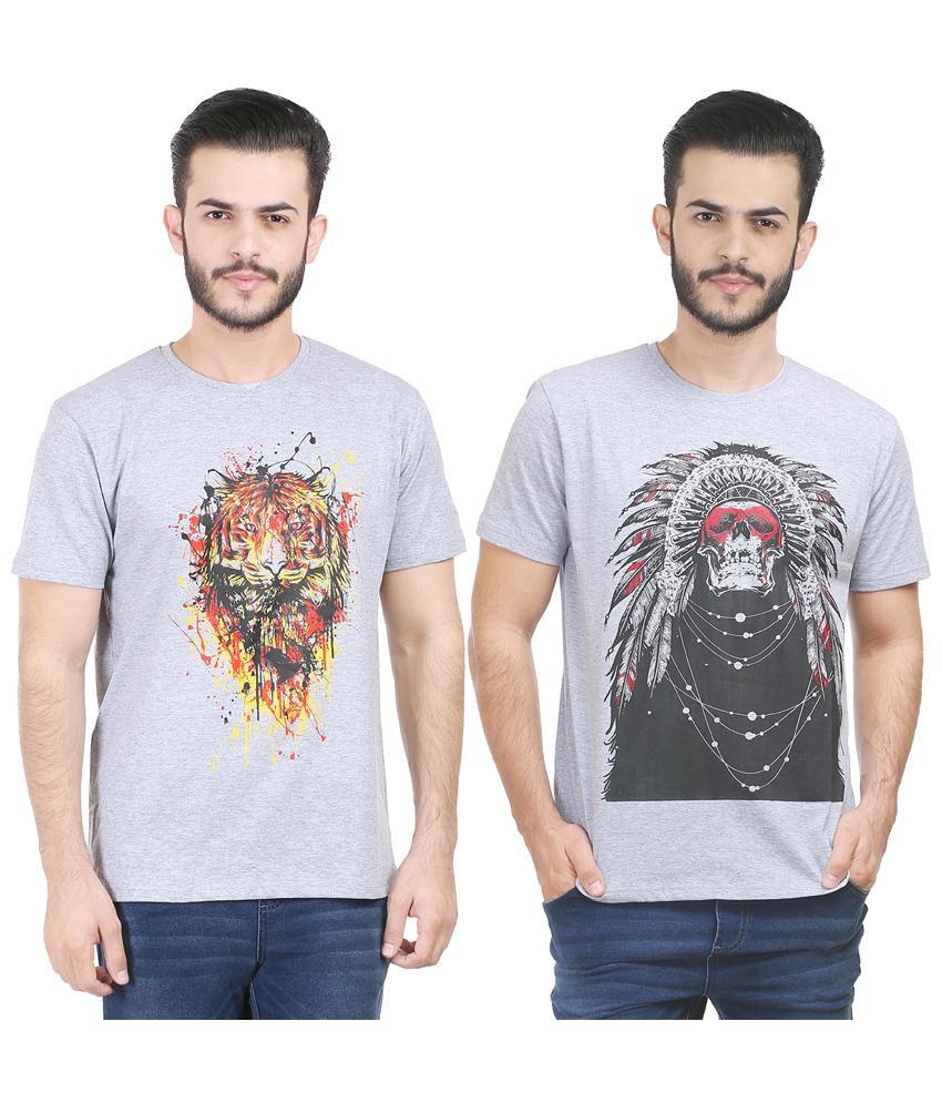 Tribal Bull Pack of 2 Gray & Black Cotton Printed T Shirts