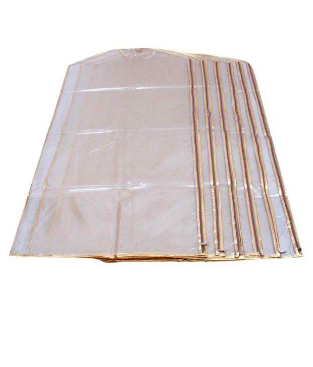 Kuber Industries Full Length Suit Cover Transparent Net Set of 6 Pcs