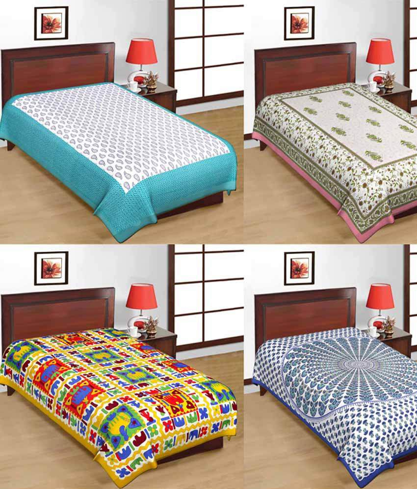 UniqChoice Combo Of 4 Cotton Jaipuri Single Bed Sheet ...