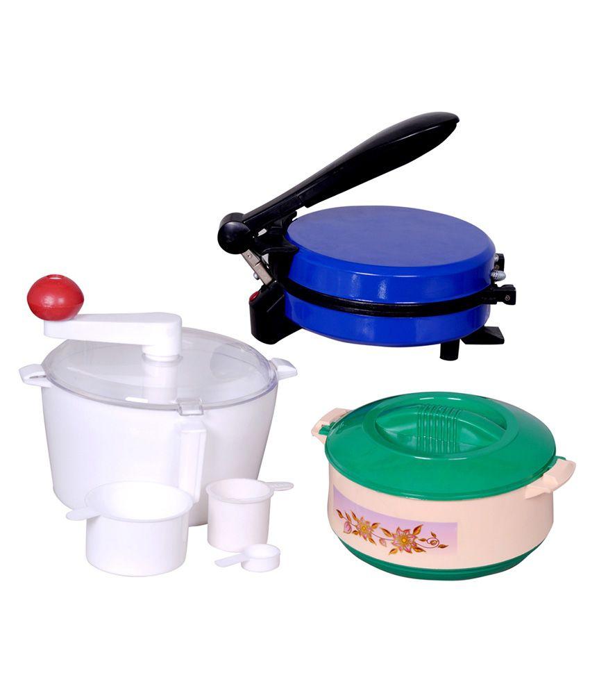 Zaisch Jumbo Detachable Handle Roti Maker with Free Dough Maker & Casserole