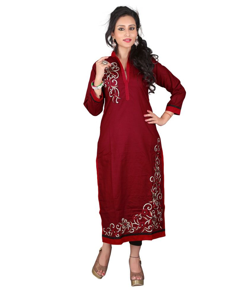 Ewows Maroon Cotton Kurti