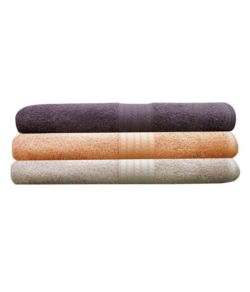 India Furnish 100% Cotton Soft Premium Bath Towel Set 450 Gsm,3 Pcs Set ,size: 75cm X 150cm- Brown,peach & Biscuit Color