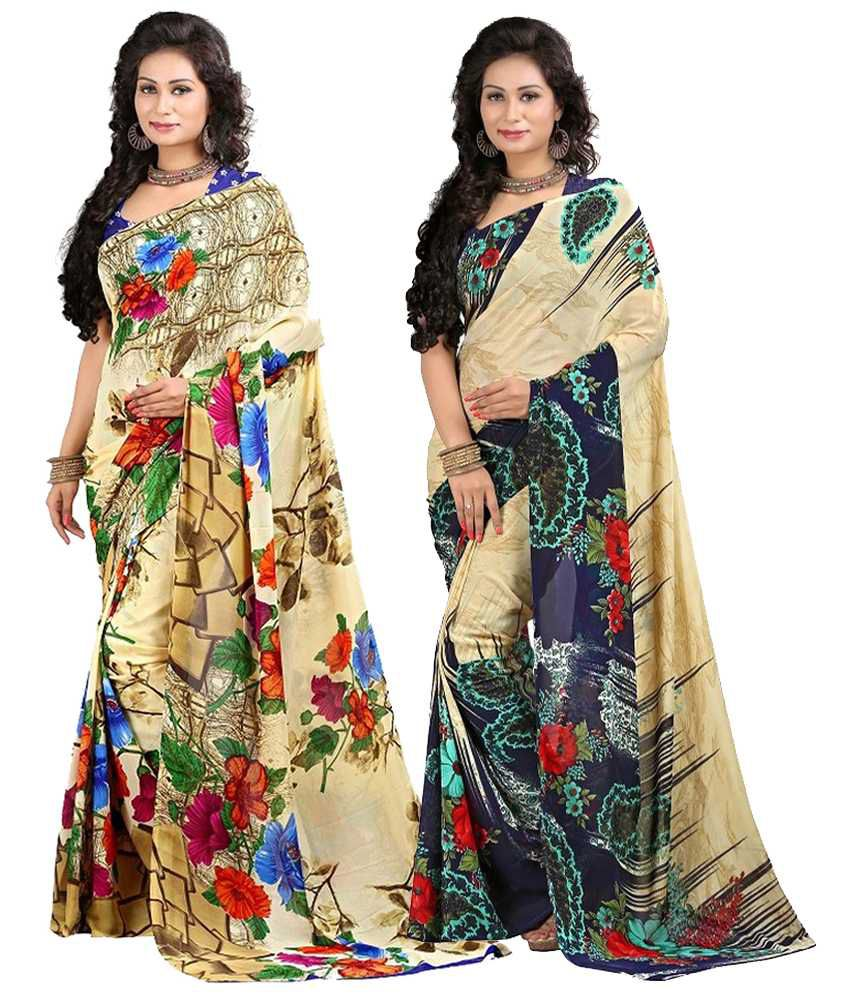 Stylobby Multicolour Faux Georgette Pack of 2
