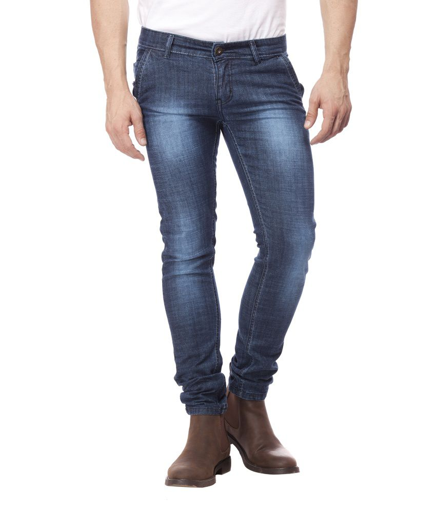 Threads Blue Cotton Blend Slim Fit Jeans