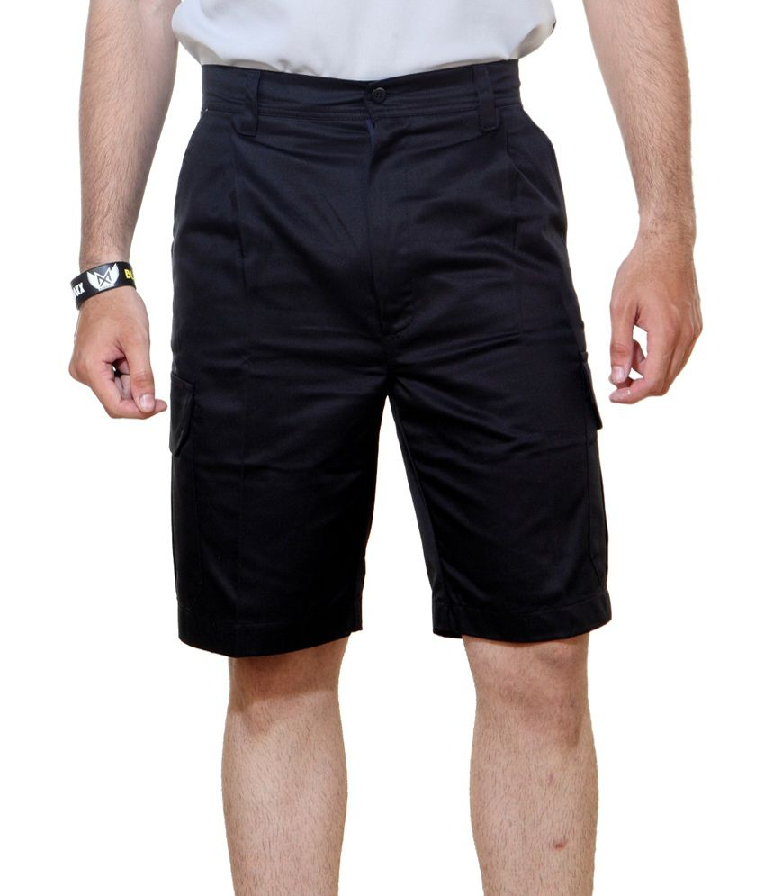 Ashdan Black Cotton Blend Solids Shorts
