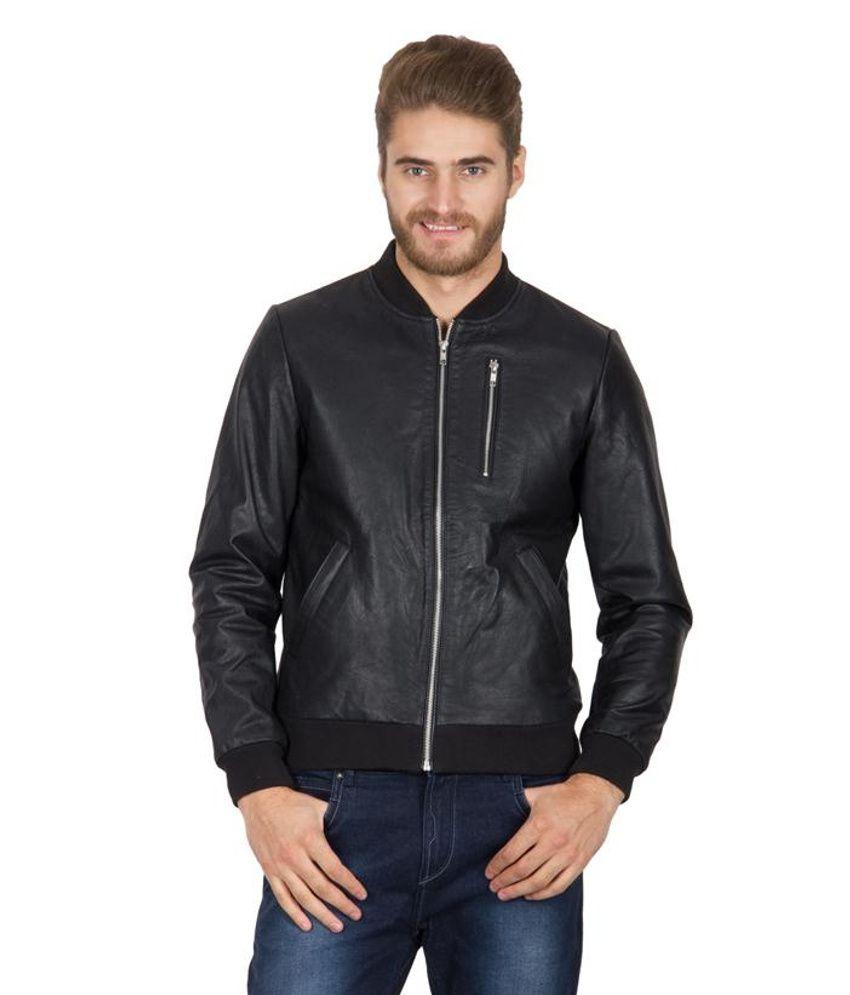Hypernation Black Color Leather Jacket For Men - Buy Hypernation Black Color Leather Jacket For ...