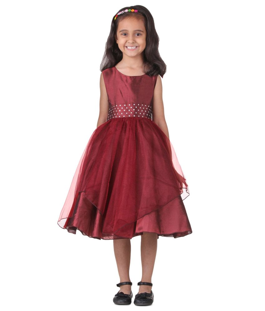 225697c349ea Little Darling Maroon Satin Frock - Buy Little Darling Maroon Satin Frock  Online at Low Price - Snapdeal
