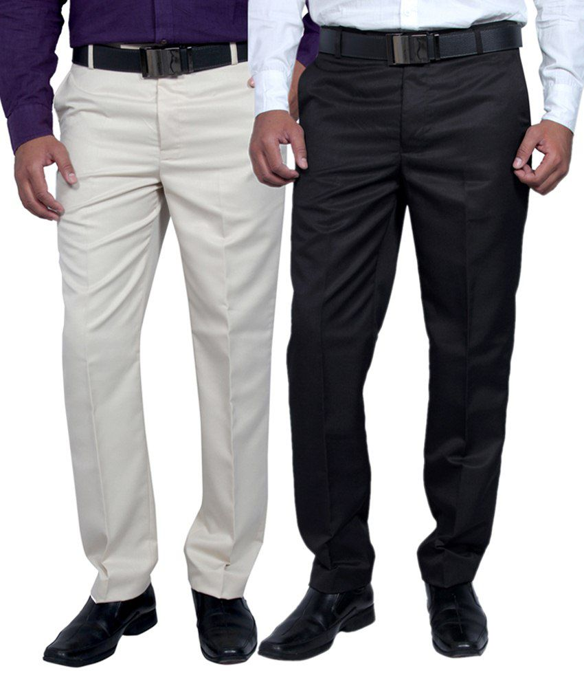Routeen Multicolour Slim Fit Combo Of 2 Pleated Trousers