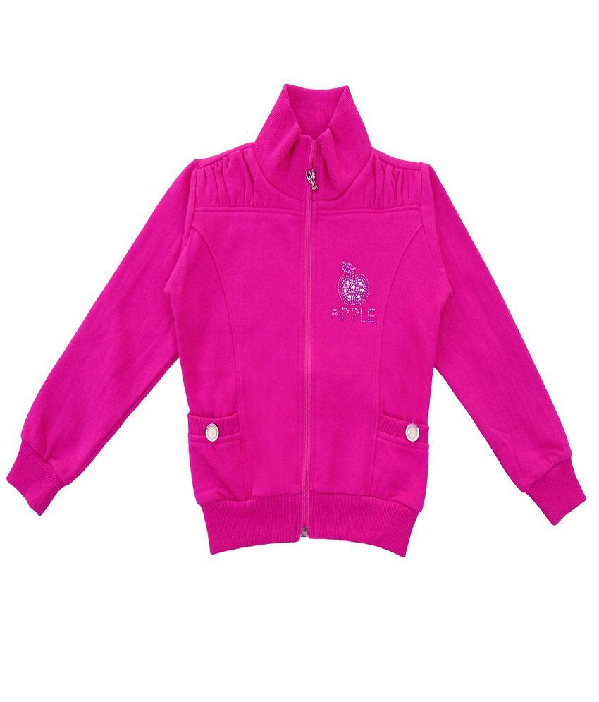 Sweet Angel Pink Color Zipper Sweatshirt For Kids