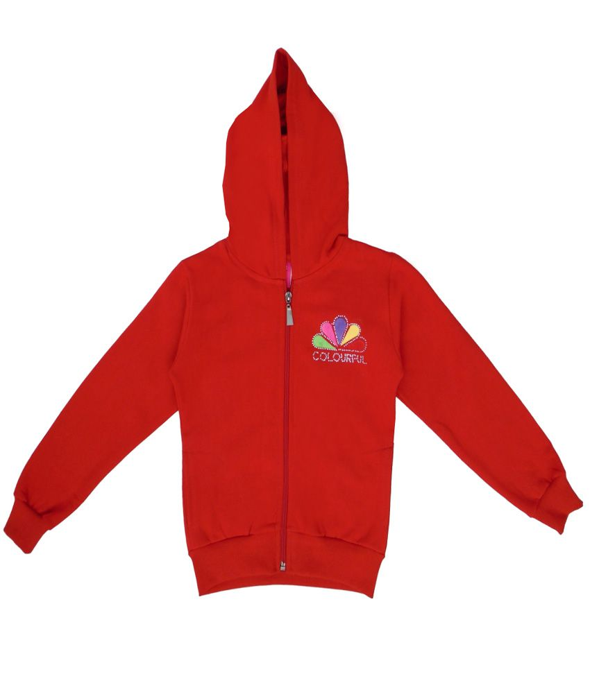 Sweet Angel Red Color Zipper Sweatshirt For Kids