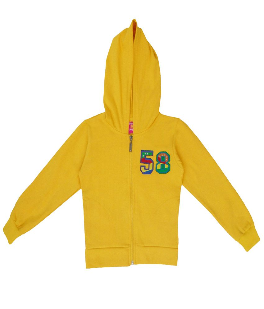Sweet Angel Yellow Color Zipper Sweatshirt For Kids