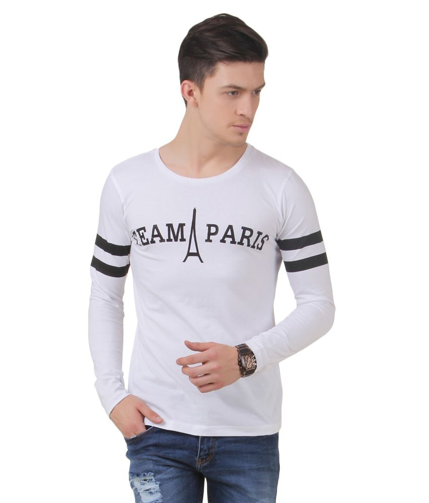 Frost White Cotton Blended Round Neck T-shirt