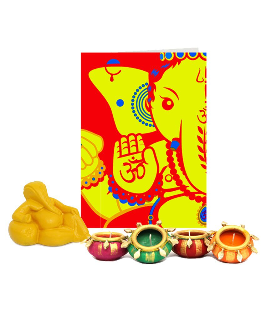 Gifts By Meeta Red Ganesh Idol With Decorative Candles And Diwali