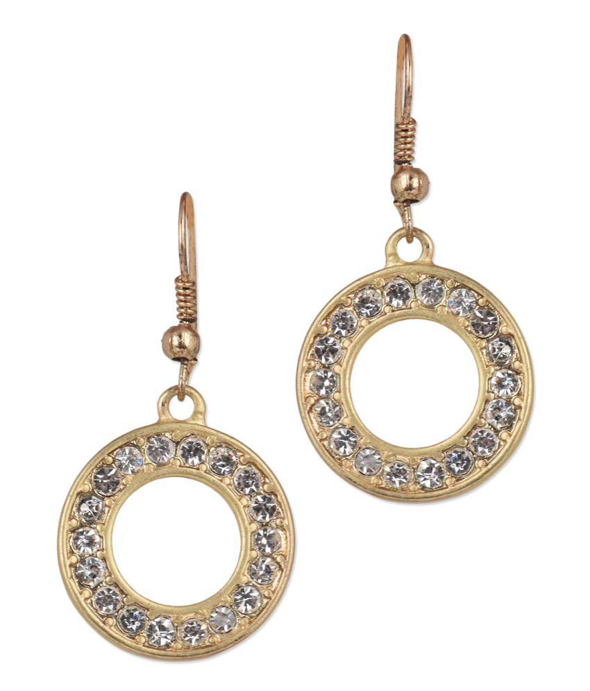 JEWELIZER Designer Crystal Gold Plated Contemporary Dangle Earrings for Women