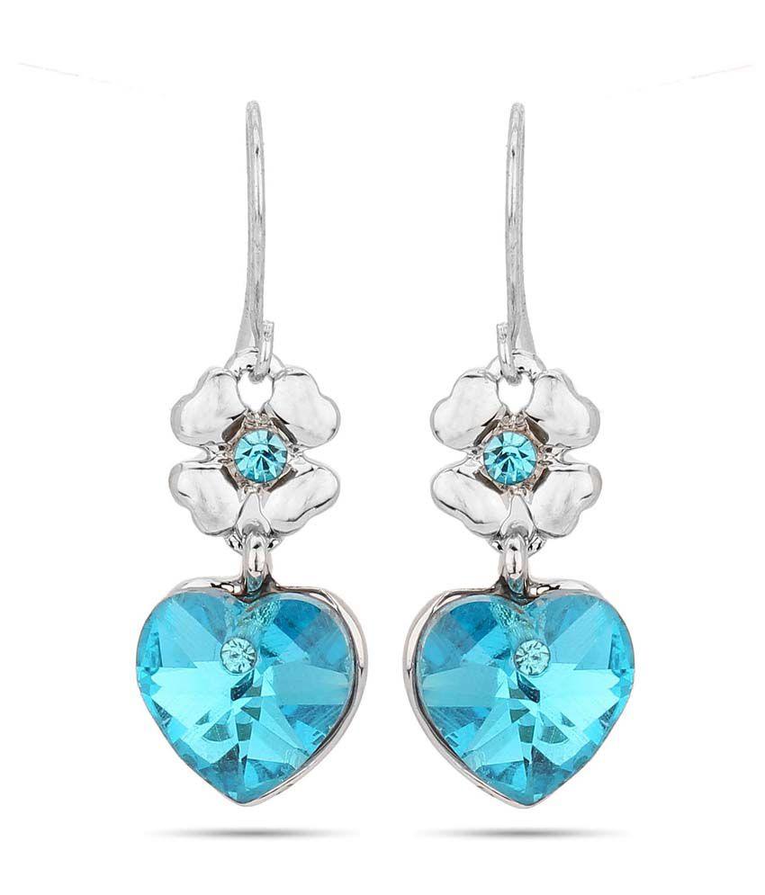 JEWELIZER Silver Plated Austrian Crystal Dangle Earrings