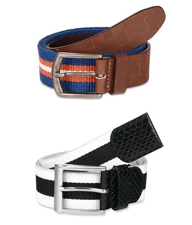 Paradigm Design Lab Combo of Genuine Leather & Webbing Belts for Men