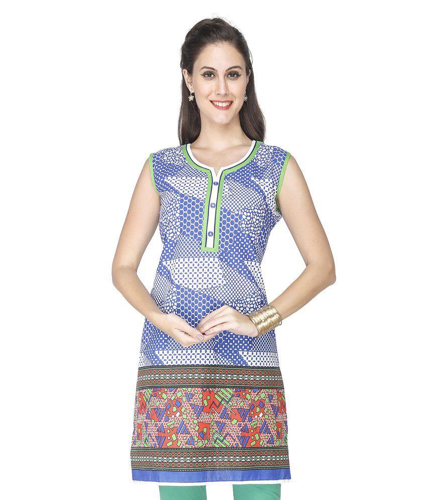 Roopali Creations Blue Cotton Kurti