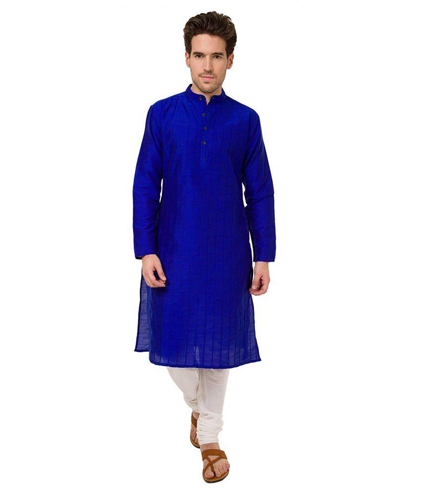 Svanik Blue Festive Polyester Blend Long Kurta