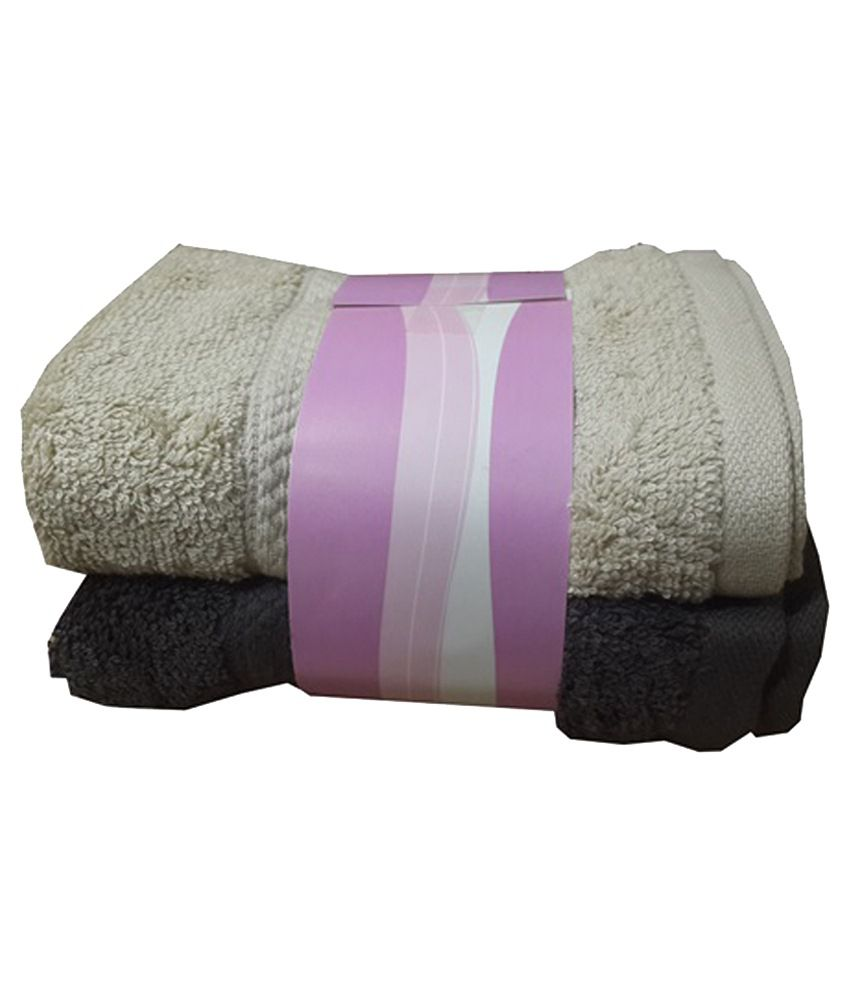 Welhouse India Set of 2 Cotton Hand Towel - Gray
