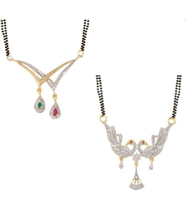 YouBella Multicolour American Diamond Mangalsutra Combo