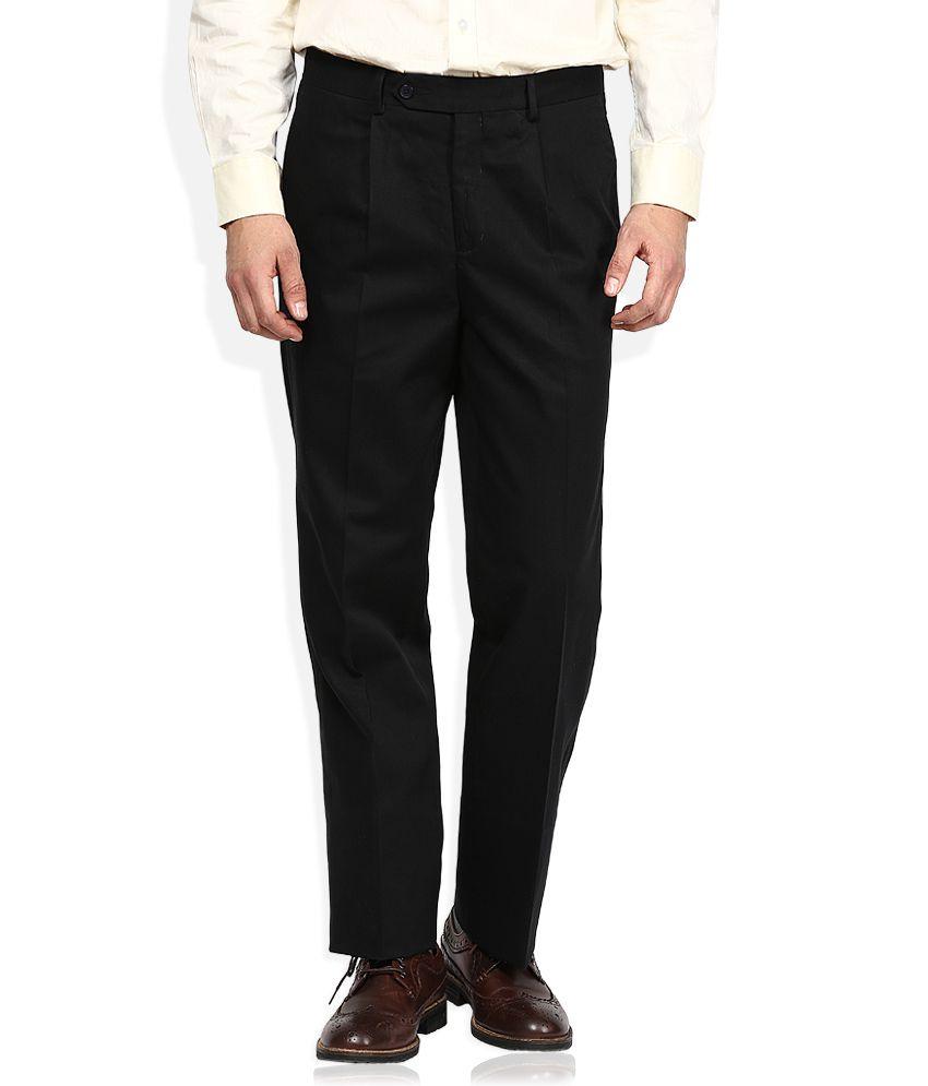 John Players Black Regular Pleated Trouser