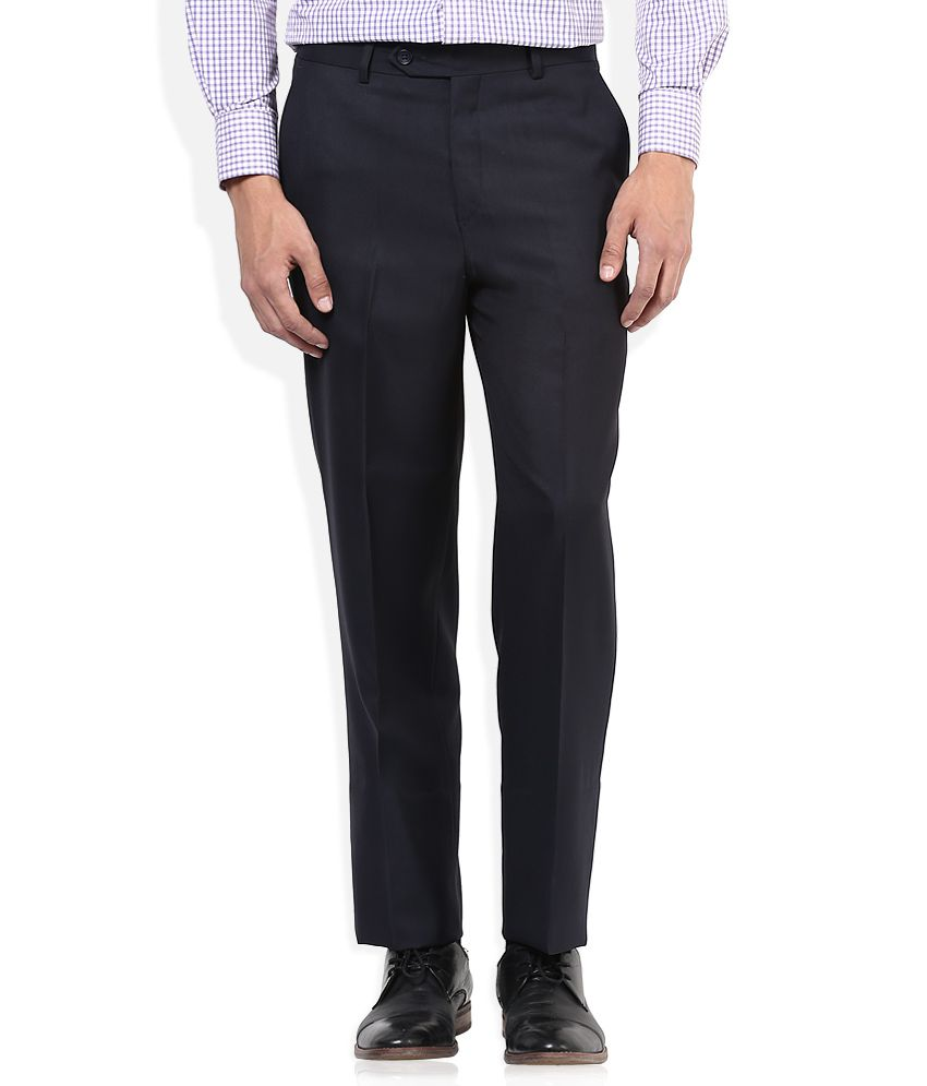 John Players Black Slim Fit Formals Flat Trousers