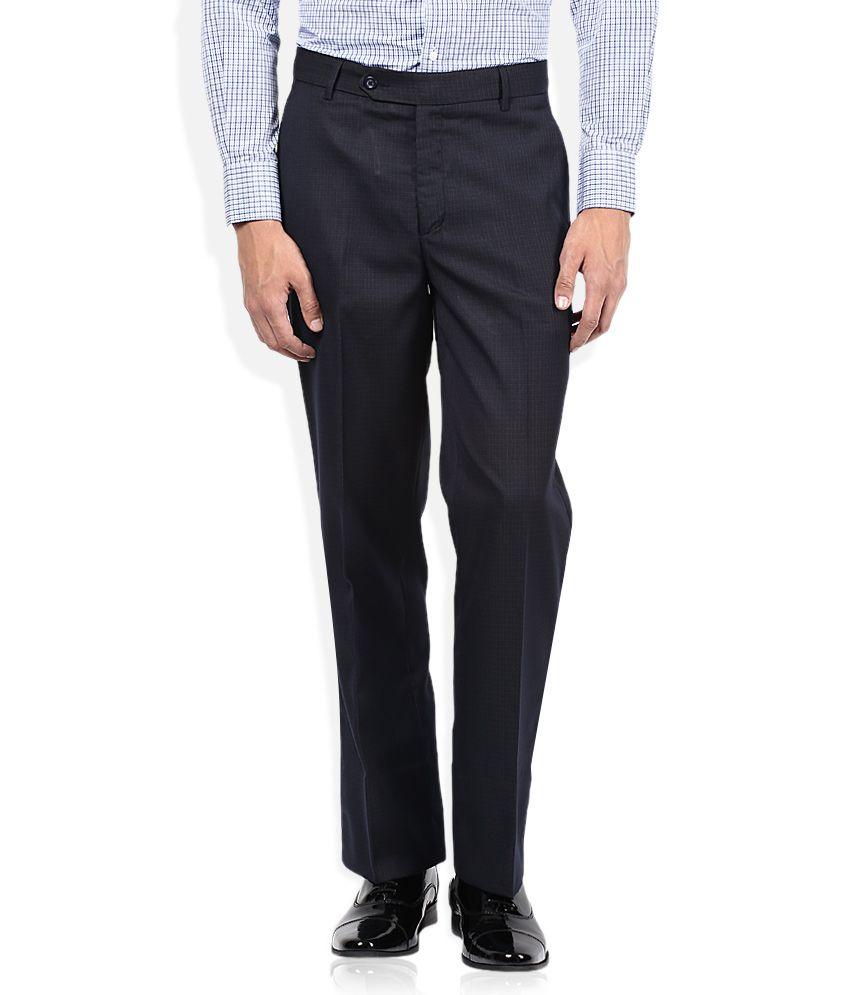 John Players Navy Regular Fit Formals Flat Trousers