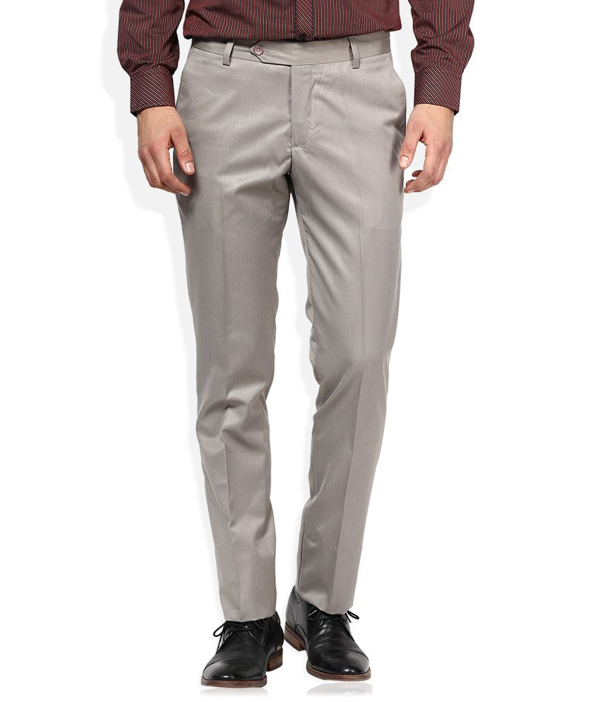 John Players Off-White Slim Fit Formals Flat Trousers