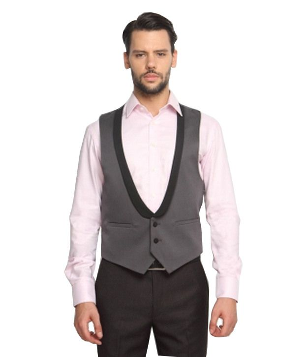 SUITLTD Charcoal Grey Solid Extreme Slim Fit Waistcoat