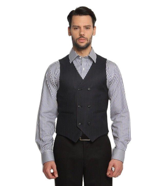 SUITLTD Navy Blue Pinstripe Slims-Fit Waistcoat