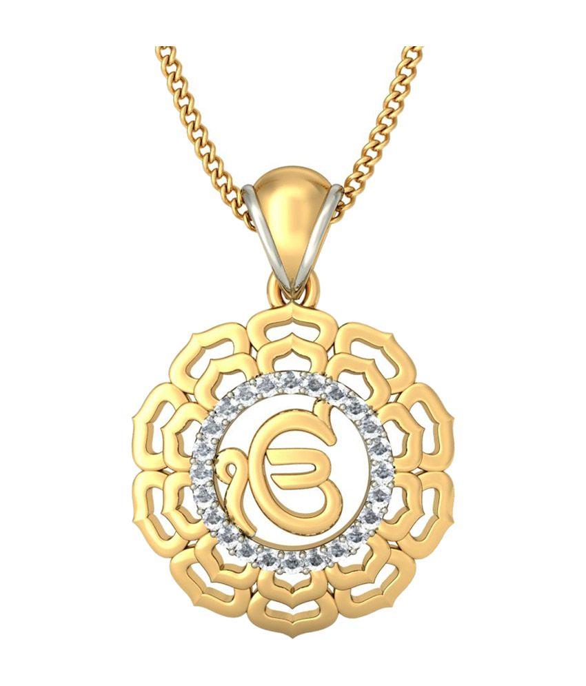 Bluestone 18kt yellow gold diamond divine ek onkar pendant buy bluestone 18kt yellow gold diamond divine ek onkar pendant aloadofball Images