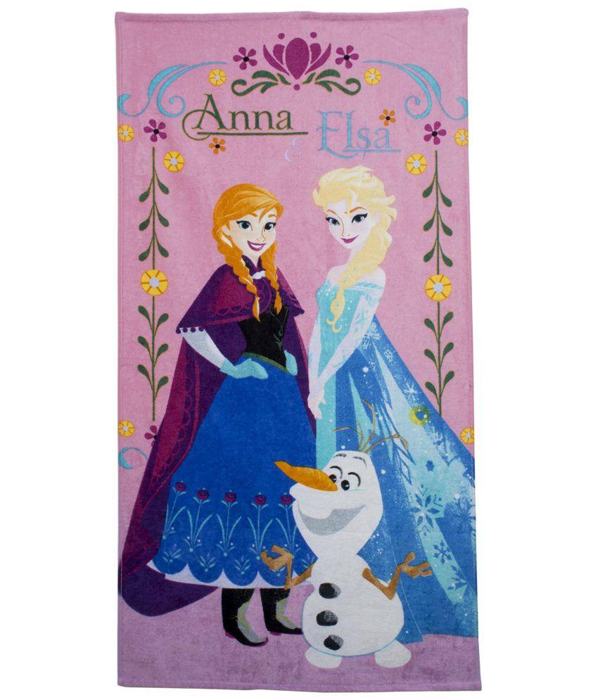 Disney Pink & Blue Frozen Sisters Cotton Bath Towel