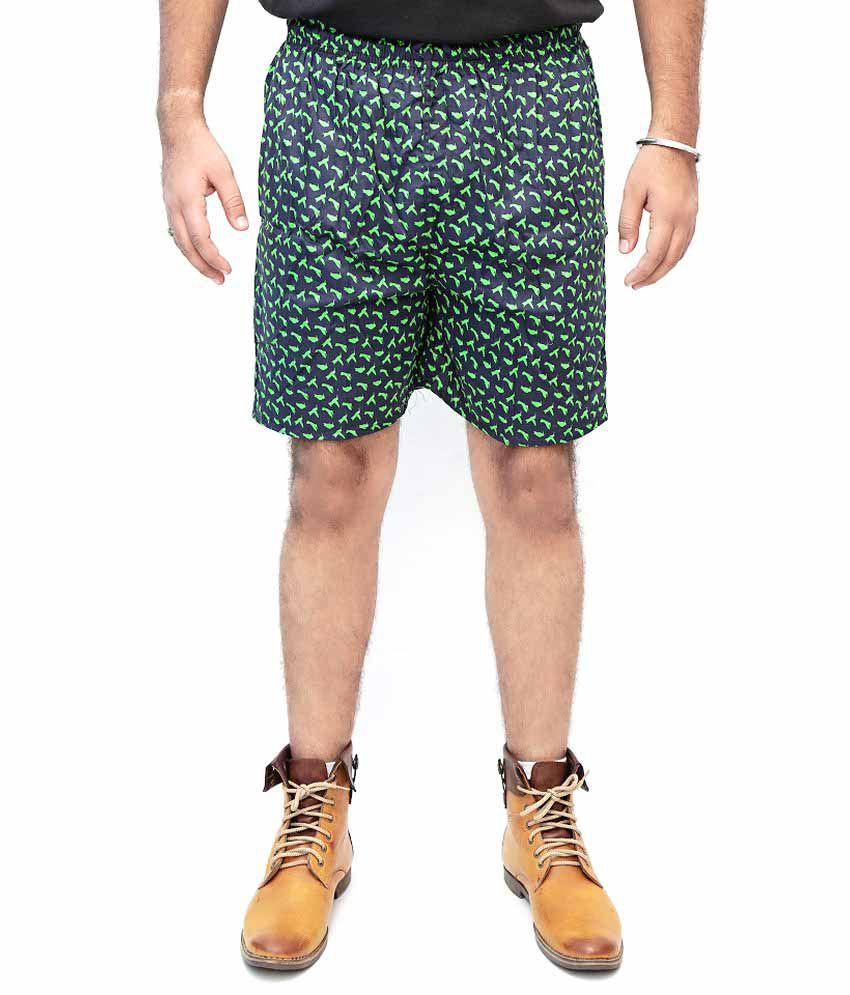 Whoop Green Cotton Printed Shorts