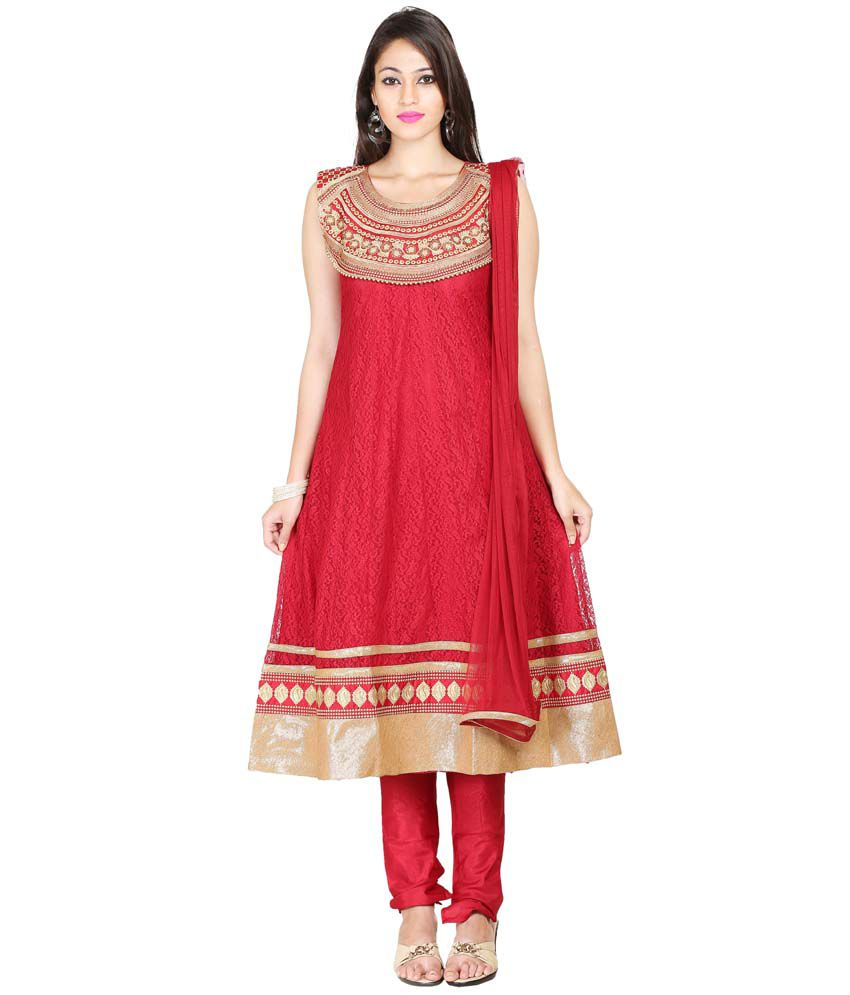 Youvika Red Net Stitched Suit