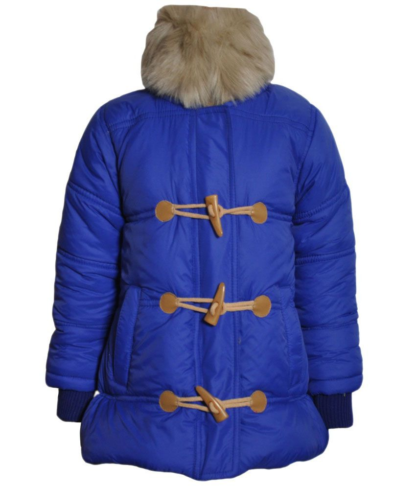 Come In Kids Blue Acrylic Padded Jacket With Hood
