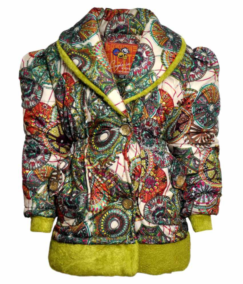 Come In Kids Multicolour Acrylic Padded Jacket With Hood