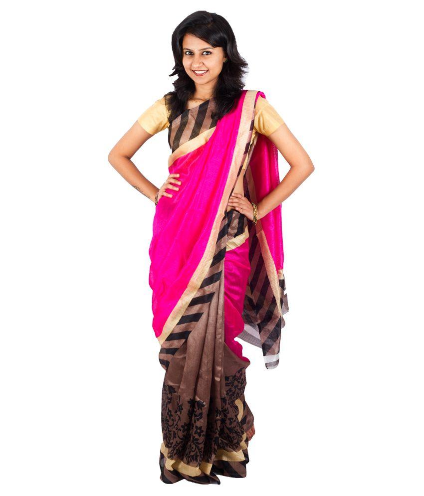 Ethino Pink Silk Saree