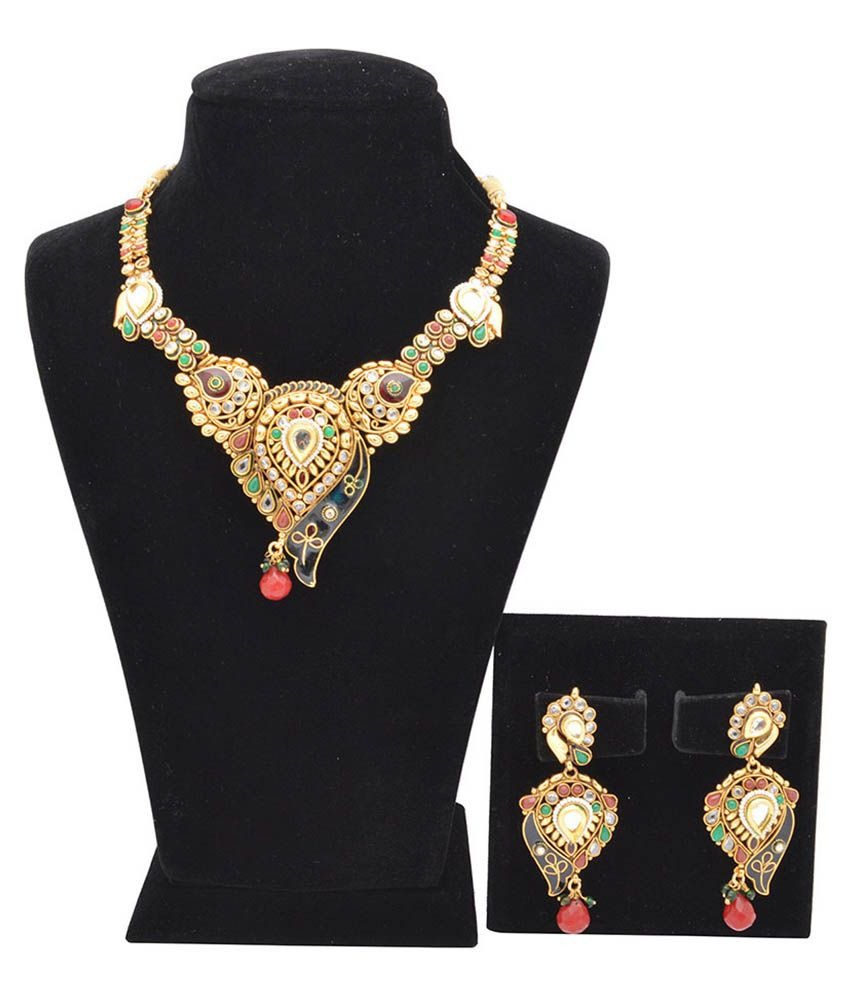 Kanha Art Jewellery Multi Color Necklace Set Studded With Kundan And Crafted With Red And Blue Enamel
