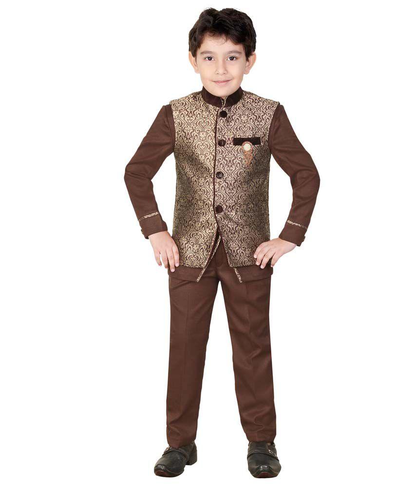 Kute Kids Brown Cotton Blend Kurta & Pant Set With Jacket