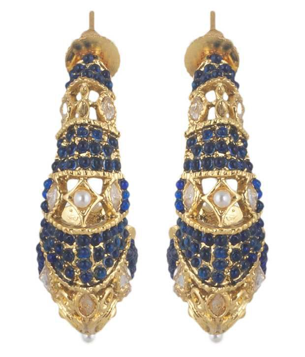 Mokanc Blue Kundan Hoop Earrings