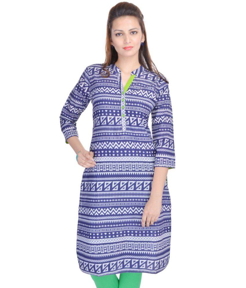 Silkworm Blue Cotton Kurti