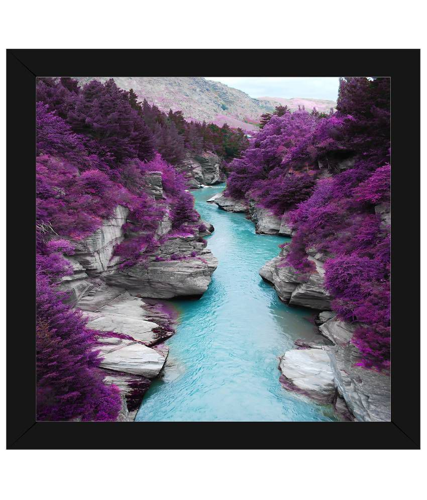 Wow Interiors and Decors Purple & Blue Lavender Bloom Wooden Framed Painting