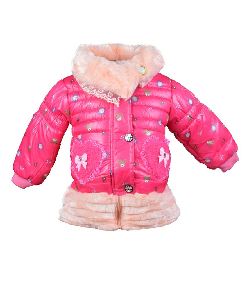 Baby Doll Pink Jacket Without Hood For Girls