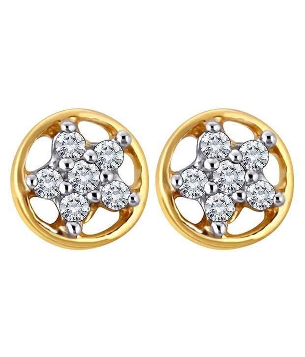 Myzevar Round Cinq 14kt Diamond Gold Stud Earring