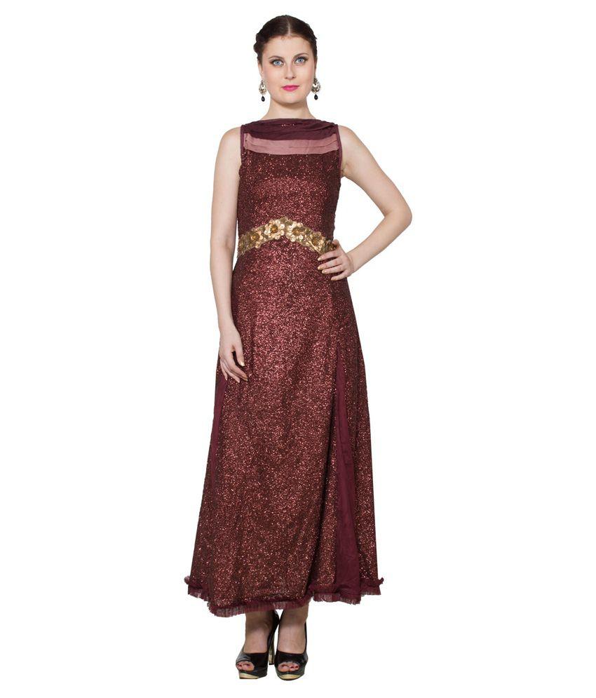 Raagbydeepa Brown Georgette Gowns