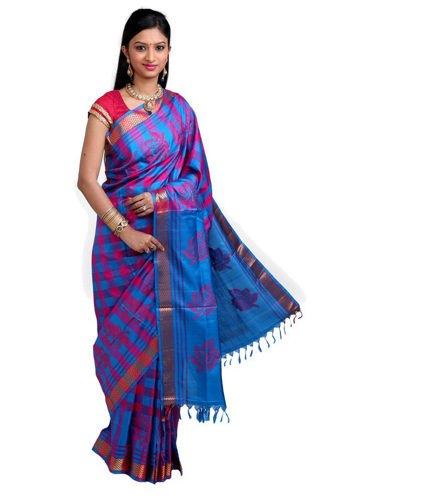 814612b869 Co-optex Blue and Purple & Pink Coimbatore Soft Silk Saree with Blouse  Piece - Buy Co-optex Blue and Purple & Pink Coimbatore Soft Silk Saree with  Blouse ...