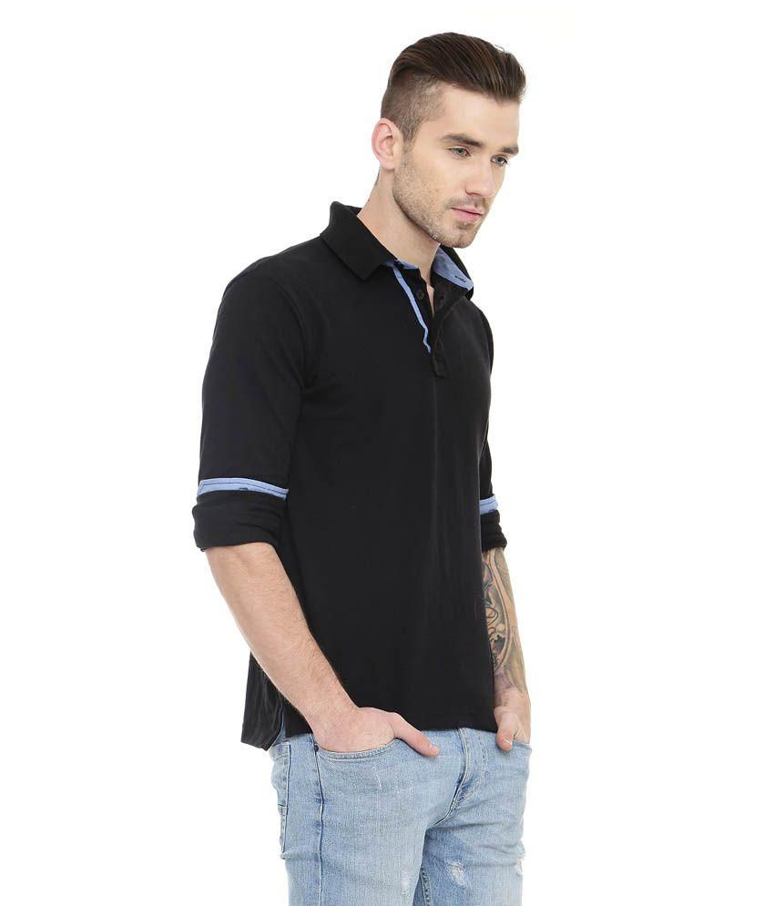 d1dc69288 Gritstones Black Full Sleeve Solid Polo T-shirt - Buy Gritstones ...