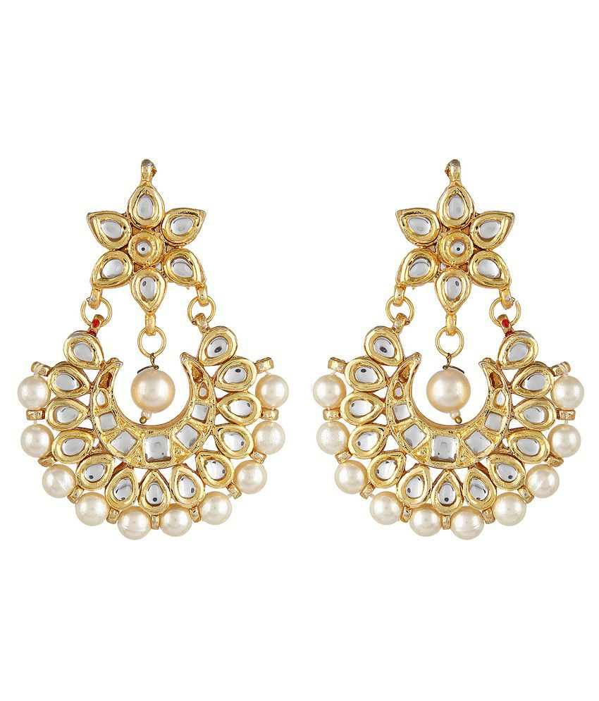 Sans India Pearl Beautiful Kundan Earrings With White Stones